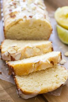 Citrus Almond Loaf Cake This loaf cake is packed with tangy lemon and lime flavor and topped with a citrus almond glaze. Beaux Desserts, Just Desserts, Delicious Desserts, Yummy Food, Quick Bread Recipes, Baking Recipes, Cake Recipes, Lemon Loaf Cake, Pound Cake