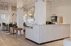 Wood tile floors, modern organic (Heirloom Restaurant | Vancouver)