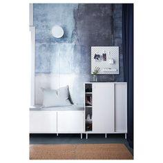 MACKAPÄR Shoe/storage cabinet, white - IKEA Shoe Storage Cabinet White, White Storage Bench, Ikea Storage Cabinets, Shoe Cabinet, White Bench, Storage Benches, Entrada Ikea, Ikea Portugal, Rustic Closet