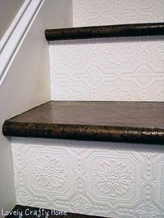 Best Decor Hacks : Description Textured Wallpaper on stair risers. A great way to add texture and design to a small space! Wallpaper Stairs, Paintable Wallpaper, Embossed Wallpaper, Backsplash Wallpaper, White Wallpaper, Textured Wallpaper Ideas, Wallpaper On Furniture, Wallpaper For Home, Lowes Wallpaper