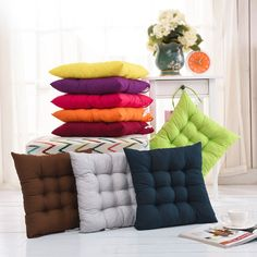 40x40cm Solid Color Square Soft Comfy Thicken Seat Pad Cushion Chair Decoration