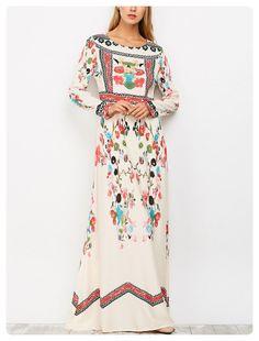 906da47715c Ethnic Floral Long Sleeve Maxi Dress (Colormix) Vestido Floral
