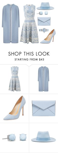 """""""powder blue"""" by haleycook56 ❤ liked on Polyvore featuring Alexander McQueen, Schutz, Rebecca Minkoff, Maison Michel and OMEGA"""