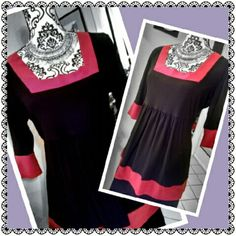 Pretty hot pink & black tunic! Comfy but also Chic! Add some shimmer leggings and great Jewelry! Tops Blouses