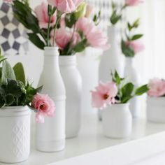 White painted jars