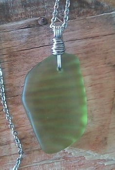 "Green Sea Glass Jewelry Necklace 23.5"" Stainless Chain Bright Beach Pattern Rare #Handmade #Pendant"
