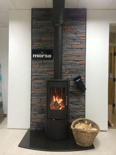 Morso 7442 Log Burner Fireplace, Slate Fireplace, Home Fireplace, Wood Burner, Soapstone Wood Stove, Wood Stove Wall, Diy Caravan, Caravan Home, Retirement House Plans