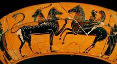 Louvre.edu : Peintre de Heidelberg, Béllérophon chevauchant Pégase combat la Chimère, coupe à figures noires, vers 575 avant notre ère, Musée du Louvre, Paris