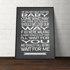 Bruce Springsteen lyrics-song lyrics print by PinkMilkshakeDesigns