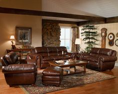 rug choices with dark brown leather furniture | Living Room Decorating Ideas with Brown Leather Furniture | House ...