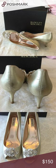 Formal shoes Nikita open toe pump with short heal. Worn once. Scuff tiny as shown on back left. Inserts easily removed without damage. I wear 8.5 and these are 9. Badgley Mischka Shoes Heels