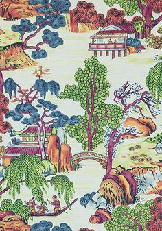 ASIAN SCENIC, Coral and Green, F975464, Collection Dynasty from Thibaut