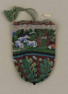 Round drawstring bag, made in Western Europe, 1830-1850  glass beads