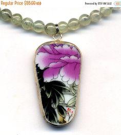 SALE 15% off Green Garnet Necklace with big Antique by Annaart72