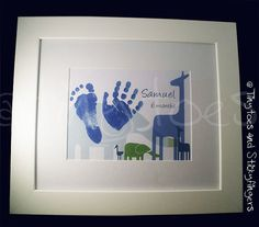 Jungle Nursery Print Keepsake  Hand prints foot by Tinytoesprints