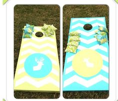 Totally made painted these cornhole boards myself with the designing help of Pinterest and the construction help of my husband! Pinterest success!!!