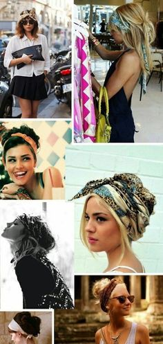 A lovely collection of Head wrap scarf tutorials which can be styled in 7 minutes or less - perfect for Festival season #coachella...x