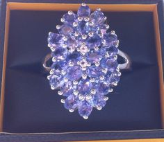 Silver and tanzanite bold cluster ring by Gemporia for my right hand on my Wedding Day