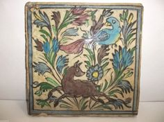 Antique Ottoman Turkish Pottery TILE Islamic IZNIK Armenian BIRD Deer SAZ FLOWER #Unknown