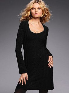 Crochet Scoopneck Sweaterdress - Victoria's Secret (FYI - this is a knit dress not crochet but I like it alot! New Outfits, Fall Outfits, Daily Fashion, Cable Knit, Knit Dress, Cute Dresses, Dresser, Scoop Neck, Fashion Dresses