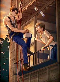 Idk who is the artist but, bless u guy look at Levi #brotp #leviackerman #erenjaeger