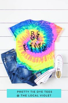 Have fun with our be kind tie dye t-shirt! You can tie it in knot and wear it with bell bottoms and sneakers. #tiedye #tiedyeshirt #hippiegraphictees #hippietops #tshirtjeansoutfit Hippie T Shirts, Hippie Tops, Hippie Style, Cute Tie Dye Shirts, Jeans And T Shirt Outfit, Cool Ties, Beach Shirts, Hippie Fashion, Hippie Outfits