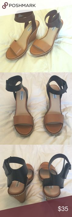 Steve Madden wedges Worn once to a wedding! Brown and Black wedge heel, with Velcro ankle inclosure. White visible stitching with a textured heel. Shoes Wedges