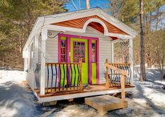 12x20 Apple Blossom Cottage. Check out this gorgeous little prefab cabin from Jamaica Cottage Shop! It can be used as a small studio, playhouse, pool house, guesthouse, workshop + more. http://jamaicacottageshop.com/shop/apple-blossom-cottage/ #cabins