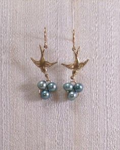 Birds Nest Earrings with Blue Freshwater Pearls