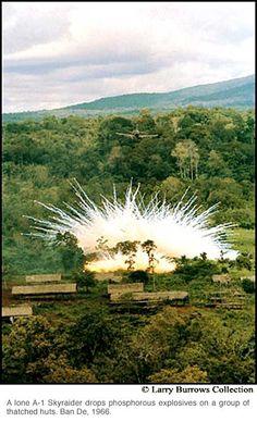 A-1 Skyraider drops phosphorous explosives