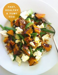Roasted pumpkin, roasted onion, green beans, avocado , feta and walnut tapenade....OH MY!!!