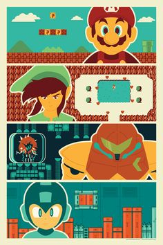 Mario, Link, Samus and Megaman