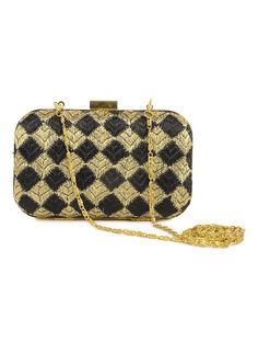 Black - Golden Phulkari Embroidered Clutch with Silver String   #handmade #punjab #embroidery