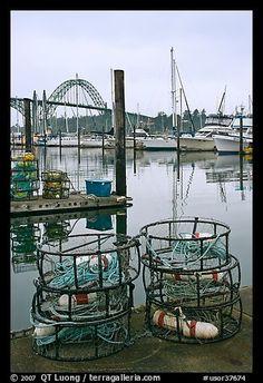 Crab traps and harbor. Newport, Oregon, USA (color)