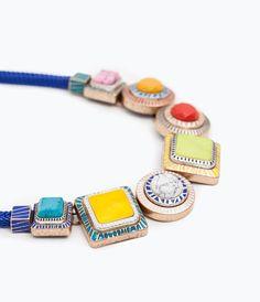 NECKLACE WITH GEOMETRIC RHINESTONES from Zara