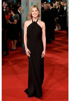 Rosamund Pike Black Halter Celebrity Evening Gown Prom Dress 2015 BAFTAs