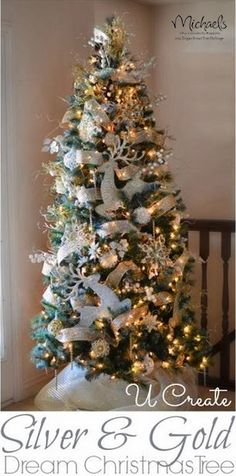 Silver & Gold Dream Christmas Tree by @U CREATE #JustAddMichaels
