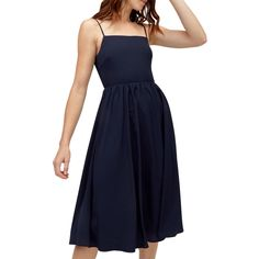 BuyWarehouse Smocked Plain Midi Dress, Navy, 6 Online at johnlewis.com