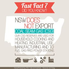 NSW does not export Coal Seam Gas. Find out more on the NSW Coal Seam Gas website www.csg.nsw.gov.au
