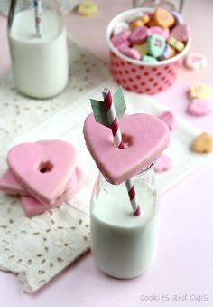 Milk Bottle Valentines Cookies with a straw arrow