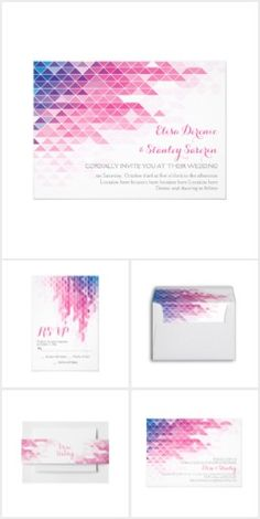 Pink geometric triangles modern wedding invitations collection.