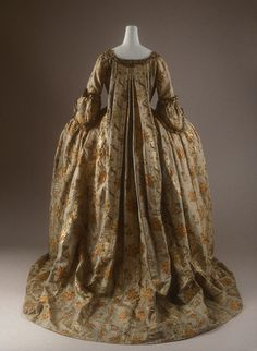 Court Gown, Cloth-of-Silver Brocaded with Silver Lace Trim, 1760s.