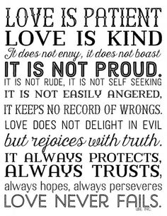 Love is Patient  love is kind. Free printable in 3 color options. 1 Corinthians 15;4  Black lbe. inc:
