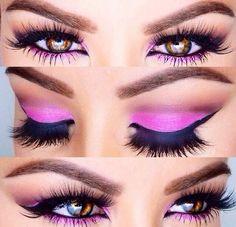 Bright Pink Eye Shadow ~ Smoky Eye ~ False Eyelashes ✿⊱╮
