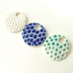 SALE - Porcelain Disk Pendants - Matt Turquoise, Cobalt Blue and White - Coral Trio