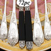 Antique French Sterling Silver 72pc Dinner Flatware Set, Ornate Scrolled Pattern, Storage Chest
