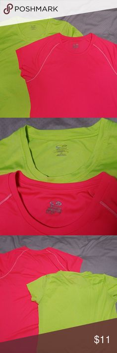 Set of champion work out tees. 2 bright colored Champion brand work out tees.  Green is large, pink is extra large semi fitted so they both fit pretty similar. Champion Tops