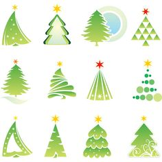 Abstract Christmas tree templates vector. Set of 12 green vector abstract Christmas tree templates which you can use in your cards, logo designs or illustrations. Format: Ai/Tif stock vector clip art. Free for download. Theme: Christmas tree, fir-tree, logos, abstract,…