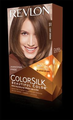 Revlon® ColorSilk Beautiful Color™.%0ALONG LASTING, MULTI-DIMENSIONAL COLOR AND SHINE.%0AMy Shade: 51 LIGHT BROWN .
