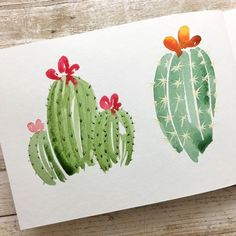 Brush Lettering + Watercolor Workshop with Jess Park - Follow along for free! #StrathmoreWorkshops Cactus Painting, Watercolor Cactus, Cactus Art, Watercolour Painting, Painting & Drawing, Garden Cactus, Watercolors, Cactus Plants, Watercolor Paintings For Beginners